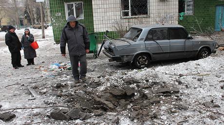 Civilian residents of Donetsk near their home  © Irina Gerashchenko
