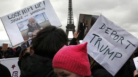 Protesters against US President Donald Trump, Paris, France, February 4, 2017. © Mal Langsdon