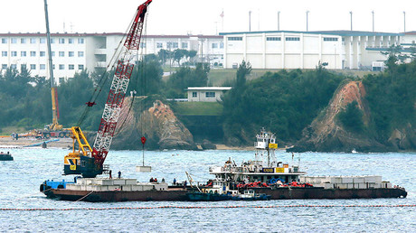 A crane barge works in the Henoko coastal area in Nago, Okinawa prefecture on February 6, 2017. © Jiji Press