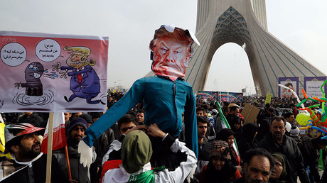 A rally marking the anniversary of the 1979 Islamic revolution on February 10, 2017, in the capital Tehran. © Atta Kenare