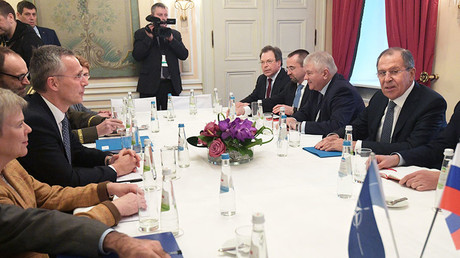Russian Foreign Minister Lavrov, right, and NATO Secretary General Jens Stoltenberg, third left. © Sputnik