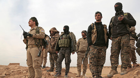 Syrian Democratic Forces (SDF) fighters. Northern Raqqa province, Syria. © Rodi Said