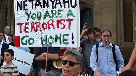 Pro-Palestinians protest against Netanyahu's visit to Sydney, Australia