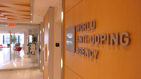 Logo of World Anti-Doping Agency (WADA) at the headquarter of the organisation in Montreal. © Marc Braibant