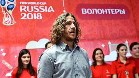 Spain's World Cup 2010 winner Carles Puyol meets with 2017 Confederations Cup volunteer candidates at the Volunteer Center © Alexandr Vilf