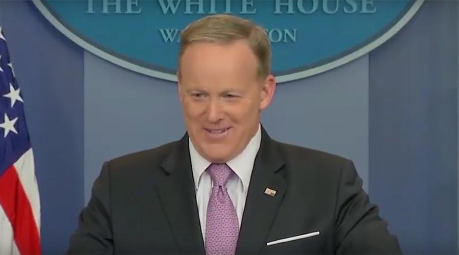 Spicer SOS? White House spokesman's upside down flag pin unleashes Twitter frenzy