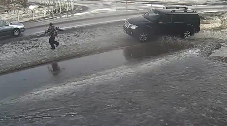Driver hits child playing with toy gun 'to teach him a lesson' (VIDEO)