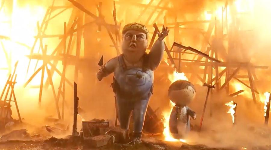 Giant Donald Trump effigy set ablaze at fiery Spanish festival (VIDEO, PHOTOS)
