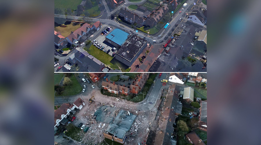 'Like a war zone': Drone footage reveals scale of devastation after Wirral explosion (VIDEOS)