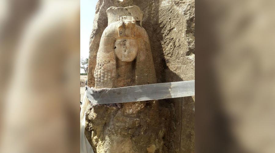 Hidden statue of Queen Tiye, grandmother of Tutankhamun, uncovered in Egypt temple (PHOTOS)