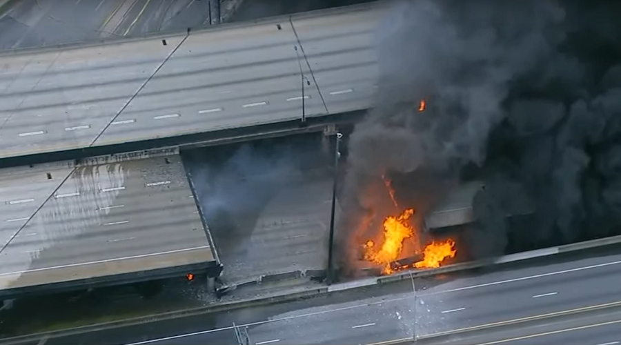 Huge fire causes highway collapse & traffic mayhem in Atlanta (PHOTOS, VIDEO)