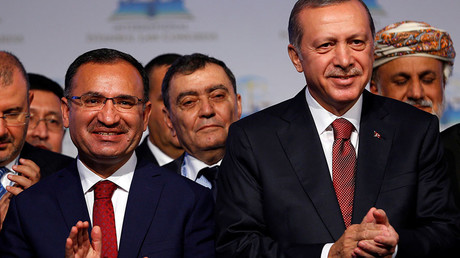 Turkish President Tayyip Erdogan (R) is pictured with Turkish Justice Minister Bekir Bozdag © Murad Sezer