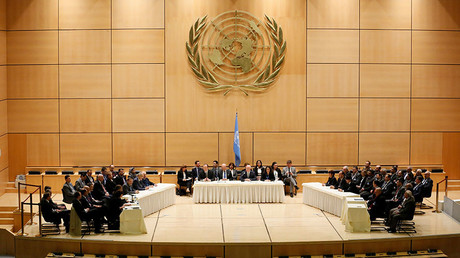 UN Special Envoy for Syria Staffan de Mistura addresses the Syrian invitees in the presence of members of the UN Security Council and the International Syria Support Group in Geneva © Pierre Albouy / Reuters