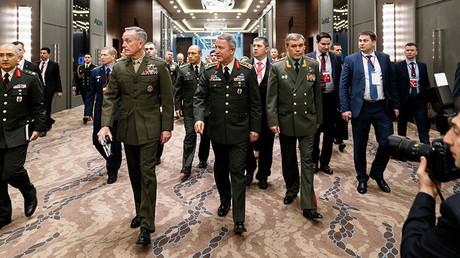 Joseph Dunford (L), Hulusi Akar (C), Valery Gerasimov (R) ©Ministry of defence of the Russian Federation