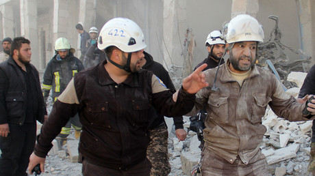FILE PHOTO. Members of the Syrian civil defence, known as the White Helmets. © AFP