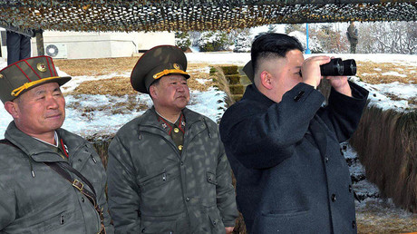 North Korean leader Kim Jong-Un (R). © KCNA