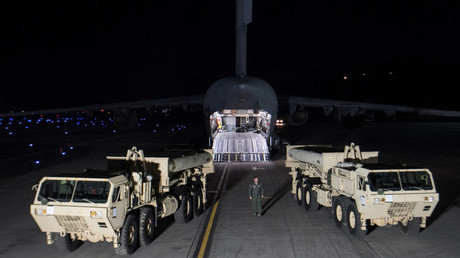 Terminal High Altitude Area Defense (THAAD) interceptors arrive at Osan Air Base in Pyeongtaek, South Korea © USFK