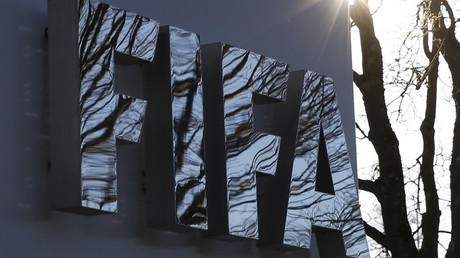 FILE PHOTO: The FIFA logo is seen outside the FIFA headquarters in Zurich © Ruben Sprich / Reuters