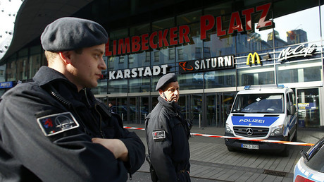 Police secures the area at Limbecker Platz shopping mall in Essen, Germany, March 11, 2017. © Thilo Schmuelgen