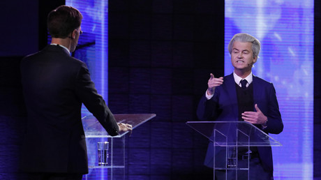 Dutch far-right politician Geert Wilders of the PVV party and Dutch Prime Minister Mark Rutte © Yves Herman