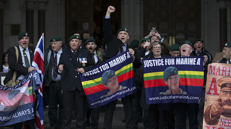 Protest outside the Royal Courts of Justice in London on February 8, 2017. ©Daniel Leal-Olivas