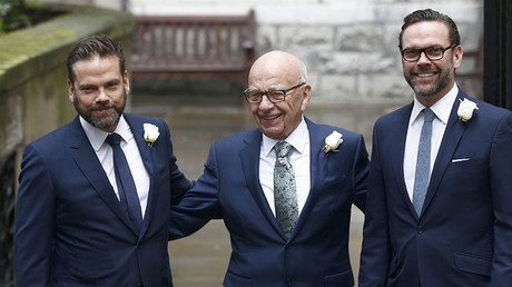 Media Mogul Rupert Murdoch (C) poses for a photograph with his sons. © Peter Nicholls