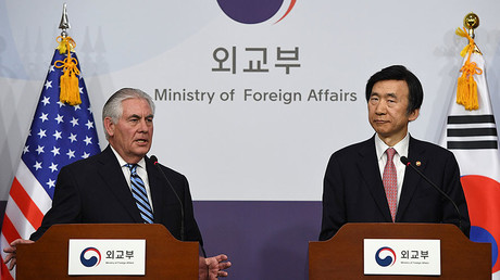 U.S. Secretary of State Rex Tillerson (L) and South Korean Foreign Minister Yun Byung-Se, March 17, 2017. © Jung Yeon-Je