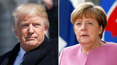 U.S. President Donald Trump (L), German Chancellor Angela Merkel (R) © Reuters