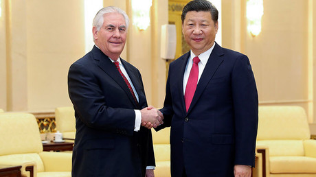 Chinese President Xi Jinping (R) US Secretary of State Rex Tillerson © Lintao Zhang