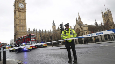 Police tape off Parliament Square after reports of loud bangs, in London, Britain, March 22, 2017. © Stefan Wermuth