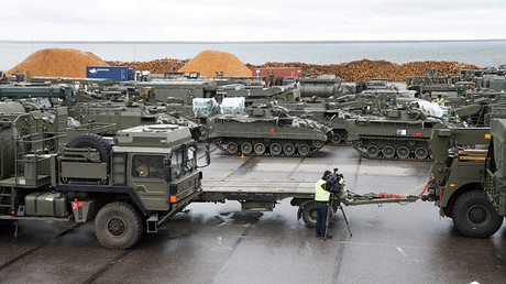 British tanks and military vehicles are unloaded at the port Estonian of Paldiski on March 22, 2017. © Raul Mee