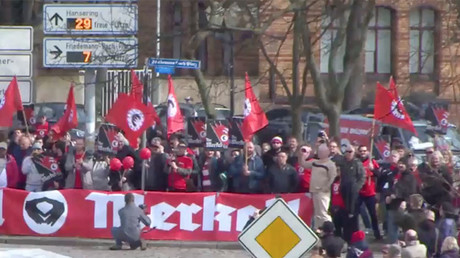 'Heil Merkel!' German city protests visit by chancellor