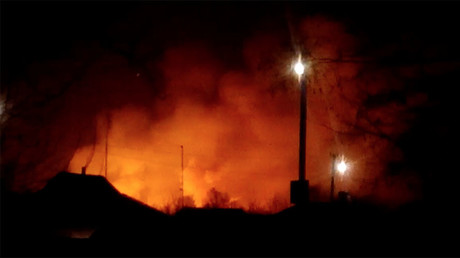 Large munitions depot up in flames in Ukraine, entire town evacuated, sabotage suspected (VIDEO)
