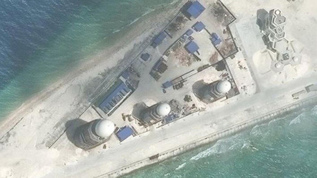 Construction is shown on Fiery Cross Reef, in the Spratly Islands © CSIS / AMTI DigitalGlobe / Reuters