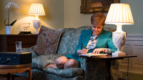 Scotland's First Minister Nicola Sturgeon working on her Section 30 letter to the British Prime Minister Theresa May, Edinburgh on March 30, 2017. ©