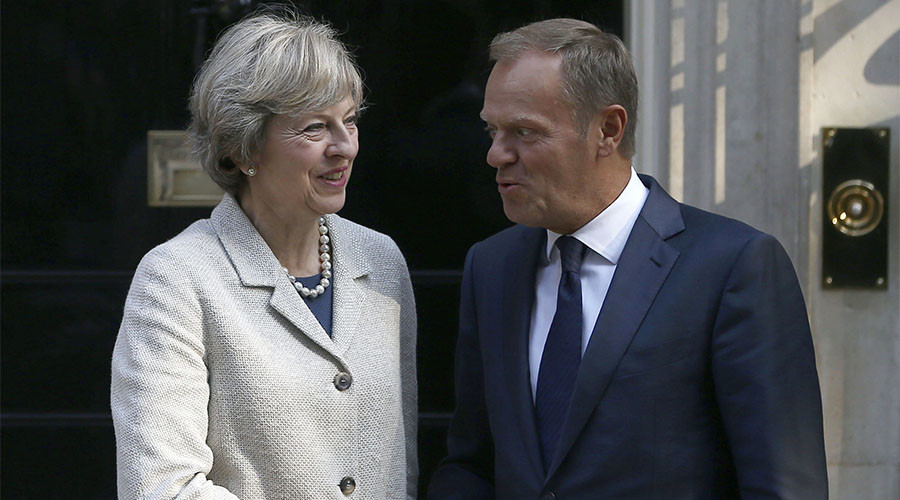 Theresa May meets Donald Tusk for 1st time since Brexit was triggered