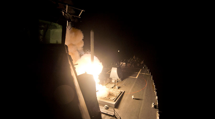US fires dozens of Tomahawks at Syria military base near Homs, Trump cites 'Assad's chem attack'