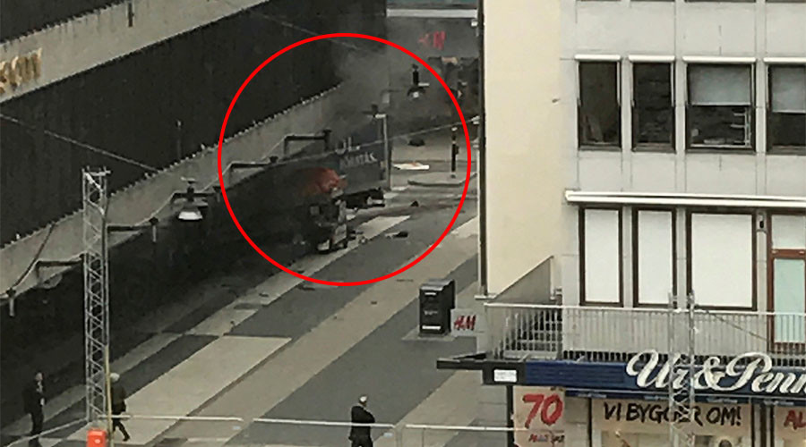 'Three dead and shots fired' as truck ploughs into shoppers in Stockholm