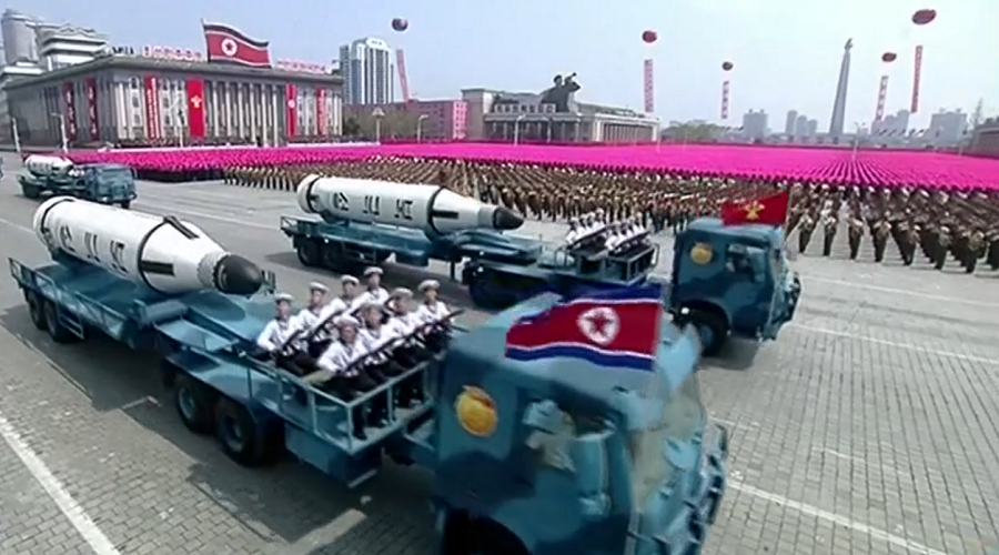 Pyongyang unveils submarine-based missiles at military parade marking founder's birth (LIVE)