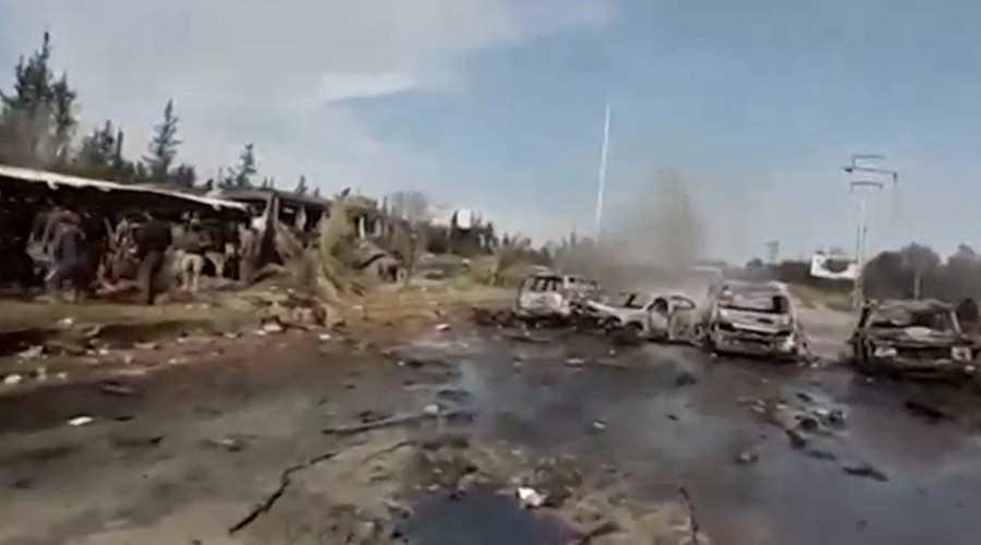 Moment after Syrian bus convoy hit by blast captured on video (GRAPHIC)