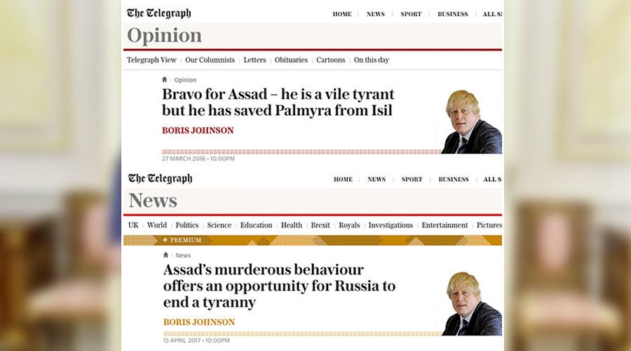 Boris Johnson 2016 vs. 2017: Flip-flop from 'Bravo for Assad' to 'Topple Assad'