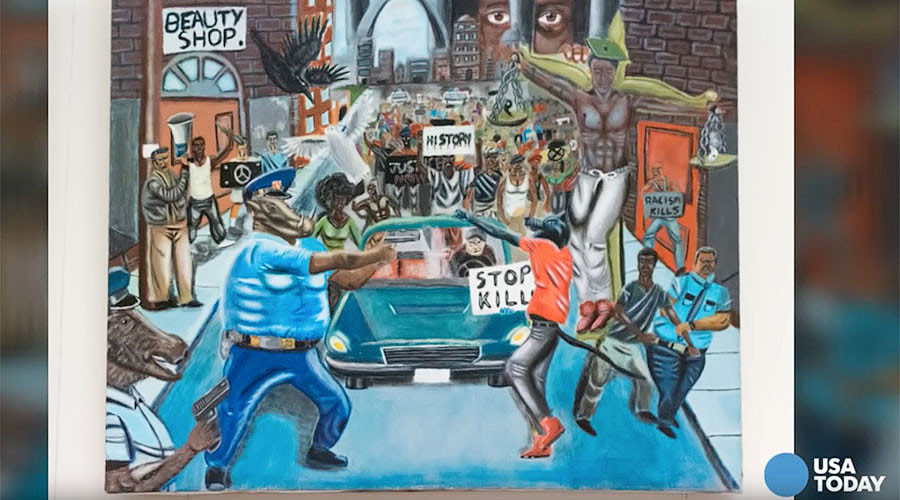 Judge hogties free speech lawsuit over Ferguson cops-as-pigs painting