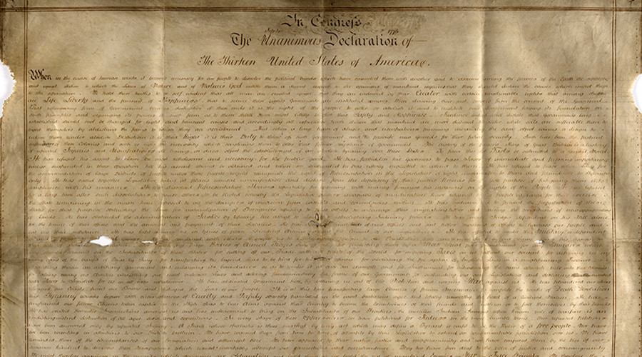 Rare parchment of US declaration discovered in England