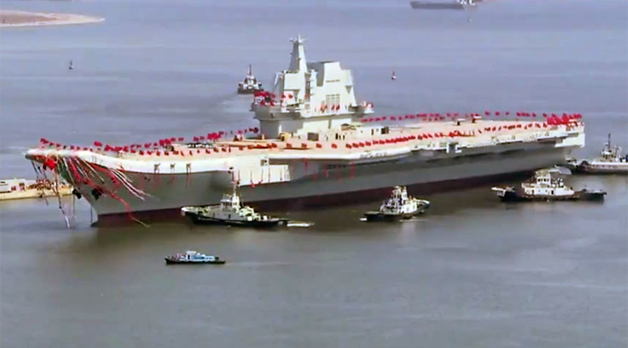 China launches its 1st domestically-built aircraft carrier (VIDEOS)