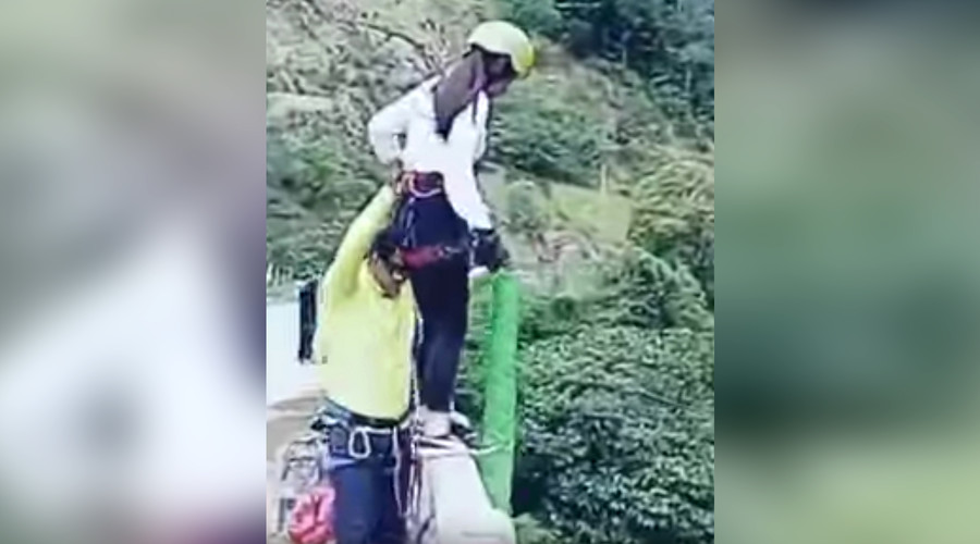 Bungee jump fail: Horrifying moment woman smashes into riverbed caught on video