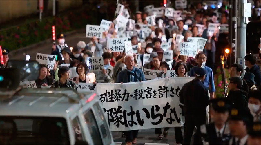 Hundreds protest US base construction in Japan, year after woman killed by US marine (VIDEO)