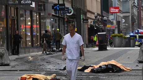 Scene after a truck crashed into Ahlens department store on Drottninggatan, Stockholm, Sweden April 7, 2017. © Aftonbladet.se / GlobalLookPress