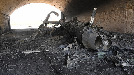 The body of a plane burned as a result of the US missile attack on an air base in Syria. © Mikhail Voskresenskiy
