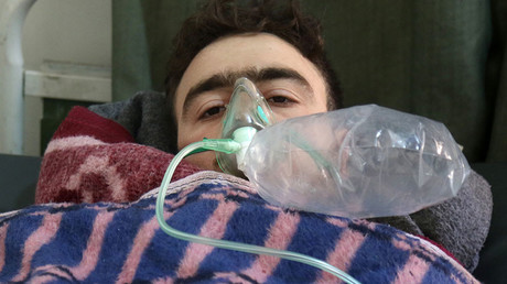 A Syrian man receives treatment in the town of Maaret al-Noman following a suspected toxic gas attack in Khan Sheikhun, on April 4, 2017