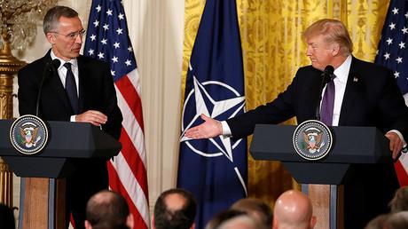 U.S. President Donald Trump (R) and NATO Secretary General Jens Stoltenberg, Washington, U.S., April 12, 2017. © Jonathan Ernst